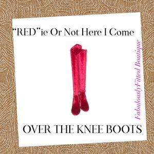 Weeboo   Red Over the Knee Velour Women's Boots